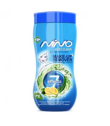 دستمال پاک کننده آرایش 7 کاره نینو | قوطی 70 عددی