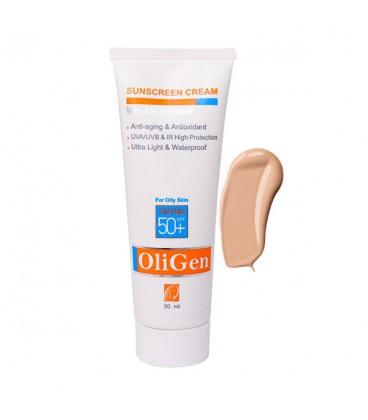 کرم ضد آفتاب با اثر ضد چروک الی ژن +SPF 50 - مخصوص پوست چرب و جوش دار