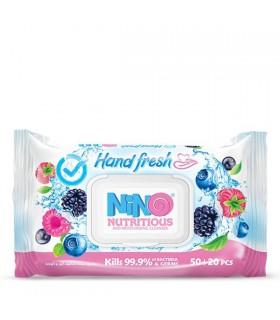 دستمال مرطوب دست و صورت میوهای نینو | بسته 70 عددی