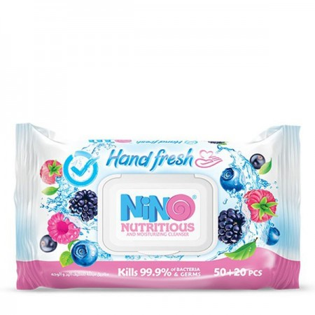 دستمال مرطوب دست و صورت میوهای نینو   بسته 70 عددی