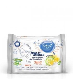 دستمال مرطوب پاک کنندهی آرایش دافی مدل 3 در 1 | بسته 20 عددی