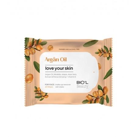 دستمال مرطوب پاک کننده آرایش صورت روغن آرگان بیول مناسب پوست خشک