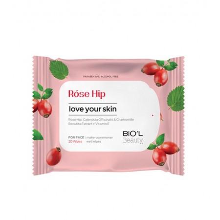 دستمال مرطوب پاک کننده آرایش صورت رز هیپ بیول مناسب پوست مختلط