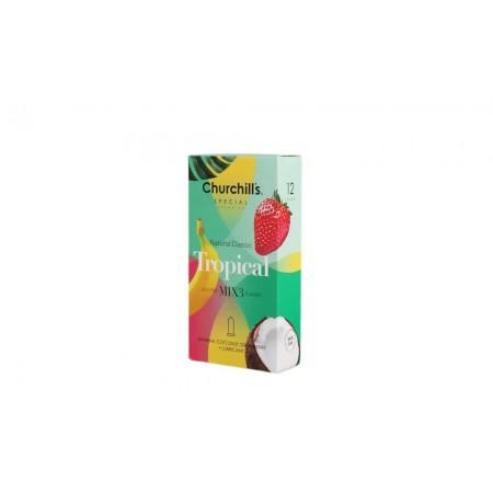 کاندوم چرچیلز حاوی ژل روان کننده و عصاره موز، نارگیل و توت فرنگی بسته 12 عددی