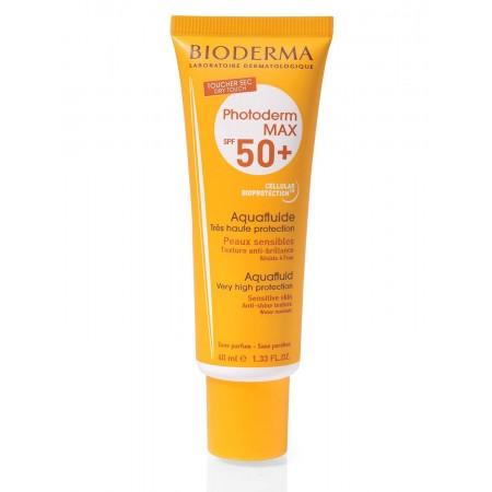 ضد آفتاب بی رنگ بایودرما مدل +photoderm max Aquafluid SPF50 مناسب پوست چرب و مختلط